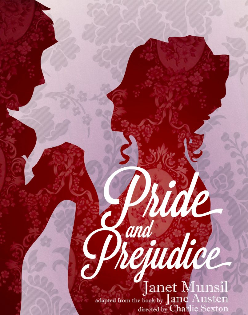 Pride and Prejudice Poster showing a silhouetted couple holding hands.